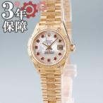 ロレックス ROLEX デイトジャスト 79288NRG A番 自動巻 腕時計 K18YG無垢 純正ダイヤ シェル ルビー バーク レディース イエローゴールド 中古