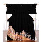 留袖 レンタル 黒留袖 フルセット 着物  結婚式 貸衣装 着物レンタル 牡丹・菊 御所車・鼓 149cm〜170cm位まで