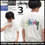 ショッピングstussy ステューシー STUSSY Tシャツ メンズ Checker Stock Pigment Dyed Pocket 1944038