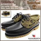 ショッピングティンバーランド ティンバーランド Timberland オーセンティックス スリーアイ ラグ レザー アンド ファブリック Black Quartz With Olive Hainsworth(A11Z2)