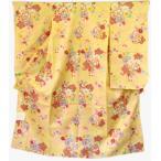 七五三着物 7歳四つ身振袖 クリーム色に花柄友禅 取扱いが楽な化繊四ッ身子供着物