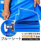 ブルーシート 厚手 防水 10m×10m 3000 ブルー 青 ハトメ 豪雨対策 台風対策 災害用 アウトドア レジャー