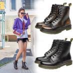 ブーツ レディース マーチンブーツ ショートブーツ ブーティ 厚底 ハイカット 8ホール 編み上げ靴 革靴 ワークブーツ ローヒール