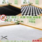 カーペット 4.5畳 四畳半 ホットカーペット対応 ラグマット MLC白黒 261×261 抗菌 防臭 防ダニ カットパイル ホットカーペットカバー 送料無料/本州四国