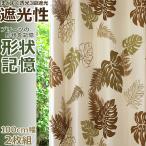 カーテン 遮光 ハワイアン / モンステラ / 2枚組 形状記憶 ペアカーテン