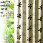 カーテン 遮光性 2枚組 パキラ セット 弱遮光カーテン