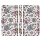 iPhone6siPhone6iPhone手帳型ケースカバーエスニック象柄ホワイトパターンイラストボヘミアンアジアン