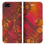 iPhone7iPhone8iPhone手帳型ケースカバーELEPHANT-レッドデザイナーズエスニックアジアンゾウ象アニマル