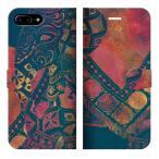 iPhone7PlusiPhone8Plus手帳型ケースカバーELEPHANT-ネイビーデザイナーズエスニックアジアンゾウ象アニマル