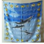 ショッピング閉店 水族館限定販売スカーフ(サイズ87x87cm)ブルー系にお魚プリント