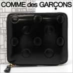 コムデギャルソン 二つ折り財布 COMME des GARCONS コンパクト財布 レディース メンズ ドットブラック SA2100NE POLKA DOTS EMBOSSED BLACK