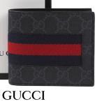 グッチ 財布 GUCCI 二つ折り財布 GGスプリームキャンバス ニューウェブ メンズ ブラック 408826-KHN4N-1095