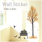 ウォールステッカー 子鳥とベンチ wd-012 Take a Seat