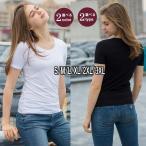 Tシャツ レディース インナーウエア 半袖 Uネック スリム 無地 ラウンドネック トップス 黒 白 XL 2XL 3XL