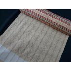 176●琉球絣調花織●正絹黄土色反物●手縫仕立で裄71cmまで