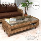 ガラステーブル 100cm アバカ材 アジアン家具 バリ風 エヴァン