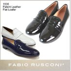 Fabio Rusconi ファビオ ルスコーニ エナメル ローファー 本革 レザー オペラシューズ Patent Leather Flat Loafer 1535 正規品  so1