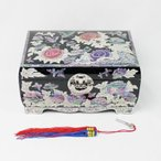 ◆螺鈿ラデン商品◆高級 牡丹模様の鍵付き宝石箱
