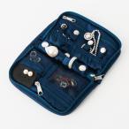 キルトジュエリーポーチ 携帯用 アクセサリーケース ブルー