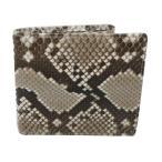 蛇革パイソン 両面蛇革 財布/艶有 二つ折り 財布(161)
