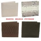パイソン 財布 メンズ 両面 蛇革 二つ折り財布 Santa Maria サンタマリア製