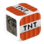 MINECRAFT (マインクラフト) カラフルに光る置時計 目覚まし時計 温度計付き LEDライト ランダム キーホルダーセット (TNT)