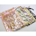 選べる5種類ポーチ テカテカサテンのカラフル巾着袋!薔薇(横:7cm・縦:10cm)小 1枚売り