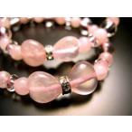 激カワ!リボン型 デザインブレス ハートリボン・ローズクォーツ&水晶ブレスレット レディース 女性用 数珠 ブレスレット 天然石 パワーストーン