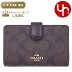 コーチ COACH 財布 二つ折り財布 F23553 ブラウン×ブラック シグネチャー PVC レザー ミディアム コーナー ジップ ウォレット レディース