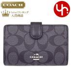 コーチ COACH 財布 二つ折り財布 F23553 ブラックスモーク×ブラック シグネチャー PVC レザー ミディアム コーナー ジップ ウォレット レディース