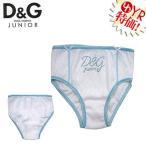 D&Gジュニア D&G junior アパレル アンダーウェア L50003OL0802 ホワイト×ブルー D&Gスパンコール筆記体ロゴパンチングパンツ 4A,6A キッズ