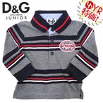 D&Gジュニア D&G junior アパレル ポロシャツ L13167 グレー×ネイビー ボーダーラガー長袖ポロシャツ 3/6M,6/9M ベビー