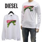 ディーゼル DIESEL ロンT 長袖Tシャツ ブランド ロゴ刺繍 グラフィック SD42-0HARE T-DIEGO-BX1-LS-100 ホワイト