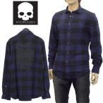 ショッピングハイドロゲン ハイドロゲン HYDROGEN リミテッド チェックシャツ ネルシャツ ブロックチェック スカルプリント 210526-013 BLUE NAVY