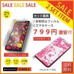 iPhone 8 / 7 保護フィルム 4.7 inch 日本製 反射防止 PET / 手帳型 スマホケース ピンクカモフラージュ