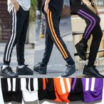 送料無料 ジャージ ラインパンツ メンズ  ダンス スキニー スリム サイドライン ジョガーパンツ ブラック 黒 improves