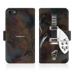 iPhone 8 (iPhone8) オリジナルデザイン 【 バックイン ブラック ギター スリム ダイアリー  】
