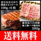 鹿児島黒牛熟成肉と鹿児島六白黒豚の食べ比べセット 熟成モモステーキ 加熱用 100g x6枚 鹿児島六白黒豚 バラ 焼肉用 500g  +ゆず胡椒