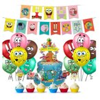 スポンジボブ 誕生日 飾り付け パーティーセット キャラクター イエロー 可愛い カラフル 子供 男の子 女の子