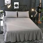 Seacan ベッドスカート シーツ カバー おしゃれなベッドスプレッド フリルデザイン 四季適用 アンティーク風 無