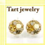 王冠タルトに宝石を詰め込んだジュエリー ピアス シトリン スモーキークォーツ ダイヤモンド 10金ピンクゴールド ギフト プレゼント