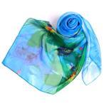 ショッピングスカーフ スカーフ/レディース/ストール/シルク100% フルール ブルー(BLUE) 大判 スカーフ 花柄 ストール マフラー Dサイズ:195×135cm 母の日