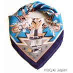 ショッピングシルク シルク100% 高級サテンスカーフ(古代インカ) 青 サテンシルク 厚手 ツヤあり ストール マフラー Eサイズ:135×135cm 送料無料