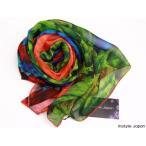 スカーフ/レディース/ストール/シルク100% 羽毛  大判 鳥 青 緑 赤 パレオ シフォン Dサイズ:195×135cm 送料無料