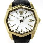 VERSACE V-アトリエ 1Pダイヤ メンズ腕時計 デイト クオーツ SS レザーベルト 文字盤ホワイト 13Q90 【メンズ】【watch】.【z80605*hmn】
