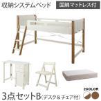 宮棚・コンセント付 天然木パイン材収納システムベッド  固綿マットレス付き  デスク&チェア付 シングル