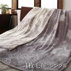 肌触りプレミアム 北欧モダン 1枚毛布 (発熱わたなし) シングル