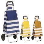 ショッピングカート 折りたたみ アルミ製 バッグ付 ( キャリーバッグ 買い物カート お買物バッグ ボーダー )
