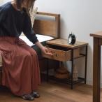 サイドテーブル レトロ調 組木天板 引出し付 Heren 幅40cm ( 完成品 天然木 テーブル ナイトテーブル 木製 )