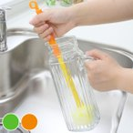 ボトル洗い 折り畳み式 冷水筒洗い アスパラくん キャロットさん ( ボトルブラシ 柄付きスポンジ 柄付きブラシ )